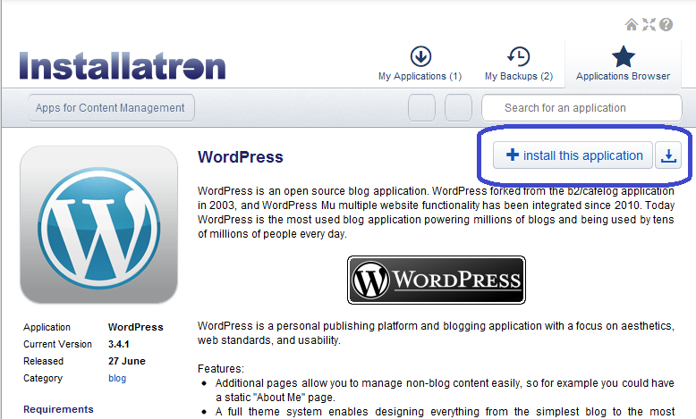 install wordpress in directadmin