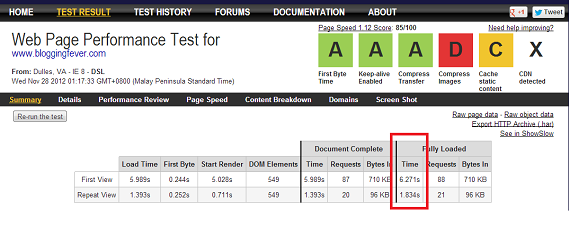 W3 Total Cache - WebPageTest
